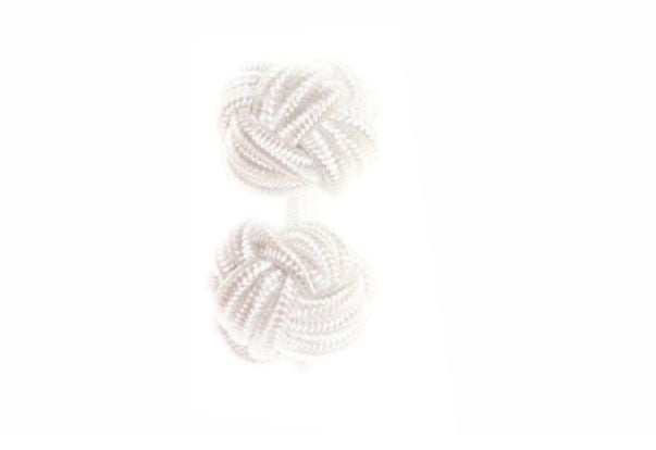 White Cuffknots Knot Cufflinks - by Elizabeth Parker England