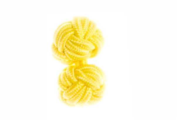 Canary Yellow Cuffknots Silk Knot Cufflinks - by Elizabeth Parker England