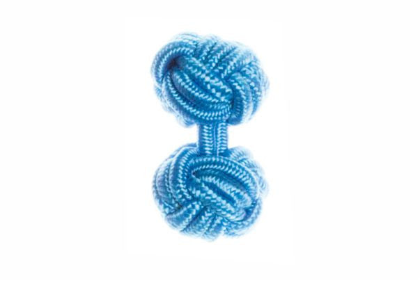 Electric Blue Cuffknots Knot Cufflinks - by Elizabeth Parker England