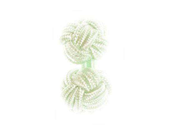 Light Green Cuffknots Silk Knot Cufflinks - by Elizabeth Parker England