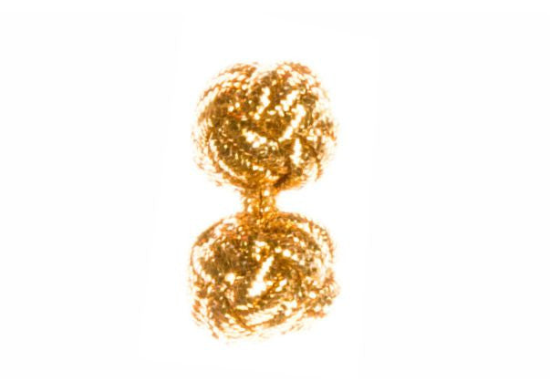Gold Lurex Metallic Appearance Yarn Cuffknots Silk Knot Cufflinks - by Elizabeth Parker England