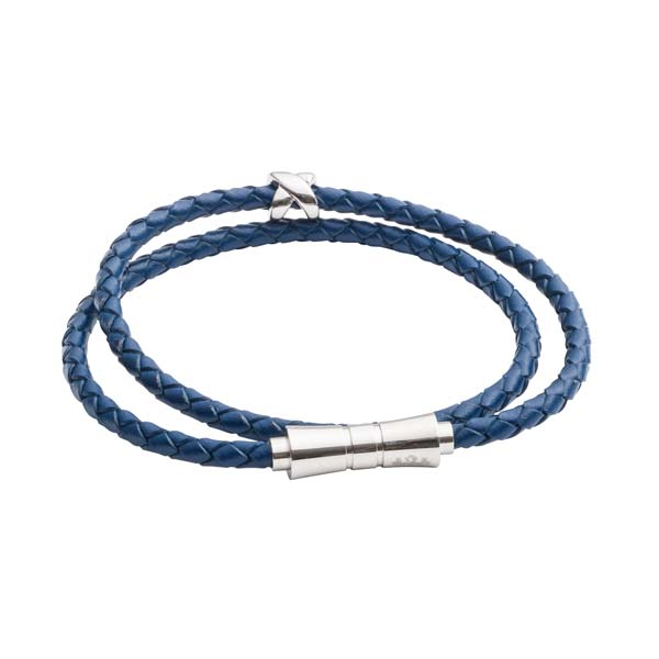 Criss Cross Blue Leather Stacking Bracelet by Elizabeth Parker