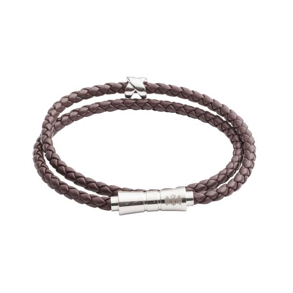 Criss Cross Brown Leather Stacking Bracelet by Elizabeth Parker