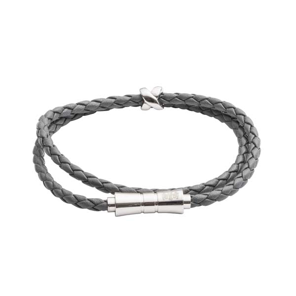 Criss Cross Grey Leather Stacking Bracelet by Elizabeth Parker