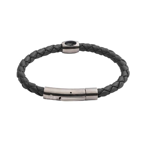 Black Leather Hollow Bead Bracelet by Elizabeth Parker