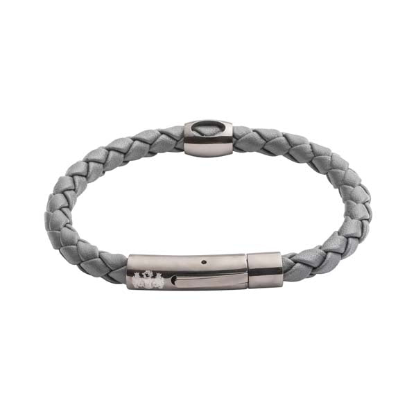 Grey Hollow Bead Leather Men's Bracelet By Elizabeth Parker