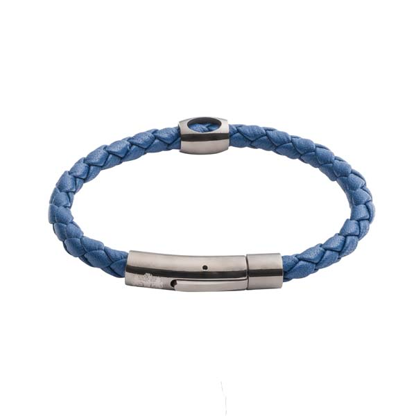 Hollow bead leather bracelet navy blue by Elizabeth Parker