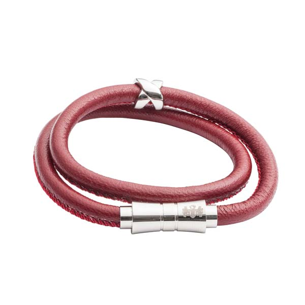 Double Wrap Red Leather Bracelet by Elizabeth Parker