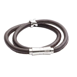 Double Wrap Brown Leather Bracelet by Elizabeth Parker