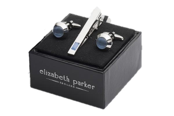 Blue Beacon Cufflink and Tie Slide Gift Set by Elizabeth Parker