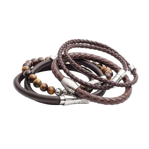 Stack of men's leather and bead bracelets by Elizabeth Parker