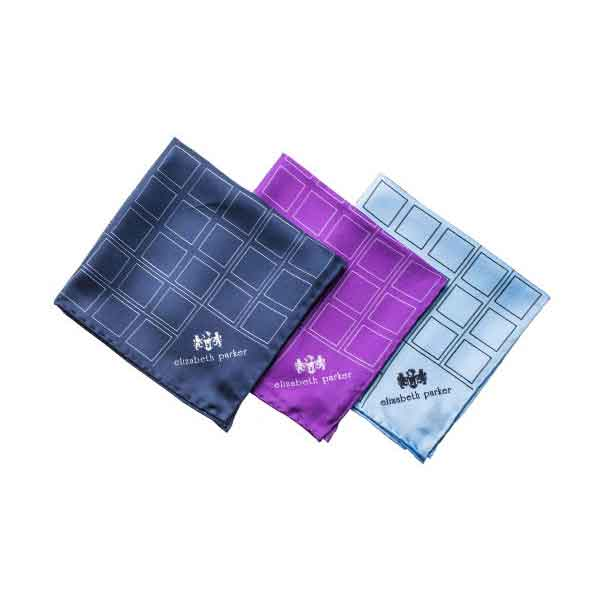 Check Grid Silk Pocket Squares by Elizabeth Parker