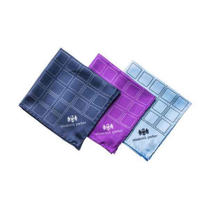 Check Grid Silk Pocket Square by Elizabeth Parker