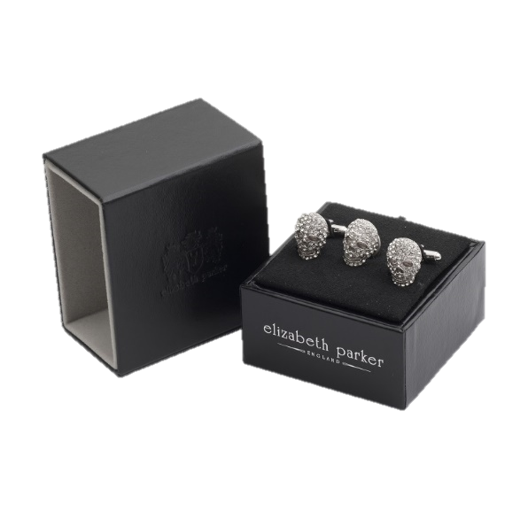 Clear crystal skull shaped cufflinks and lapel pin gift set by Elizabeth Parker