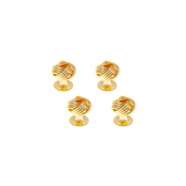 4 Gold Plated Knot Weave Style Dress Studs Set by Elizabeth Parker