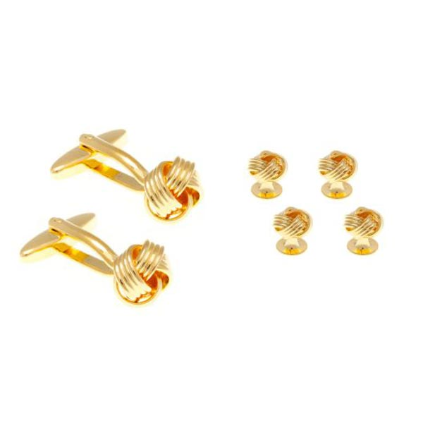 "4 Gold Plated Knot Weave Style Dress Studs & Cufflinks Set - AEPDS001X4CL - ""exquisite accessories for the discerning gentleman"" - by Elizabeth Parker England"