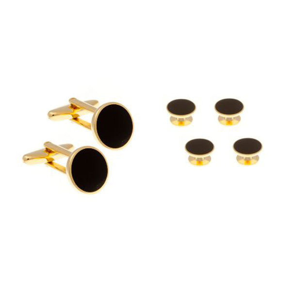 4 Black Enamel & Gold Plated Dress Studs & Cufflinks Set by Elizabeth Parker England