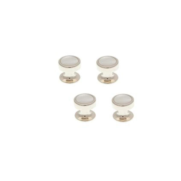 4 Round Mother Of Pearl Dress Studs Set by Elizabeth Parker