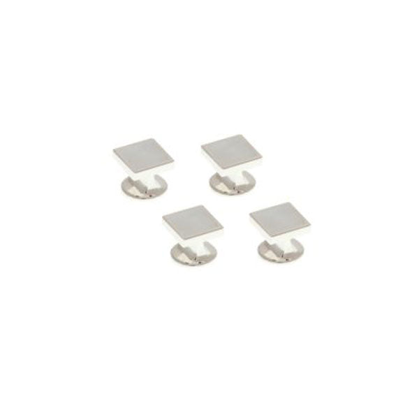 4 Square Mother Of Pearl Dress Studs Set by Elizabeth Parker