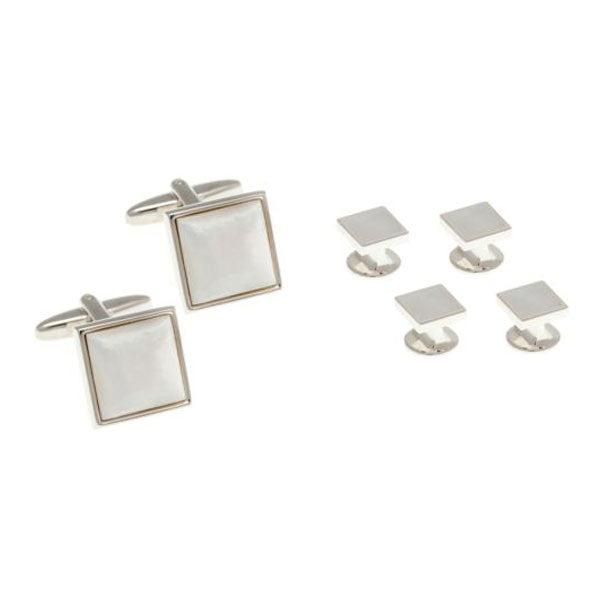 4 Square Mother Of Pearl Dress Studs & Cufflinks Set by Elizabeth Parker