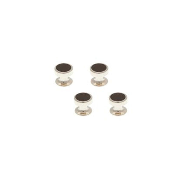4 Round Black Onyx Dress Studs Set by Elizabeth Parker