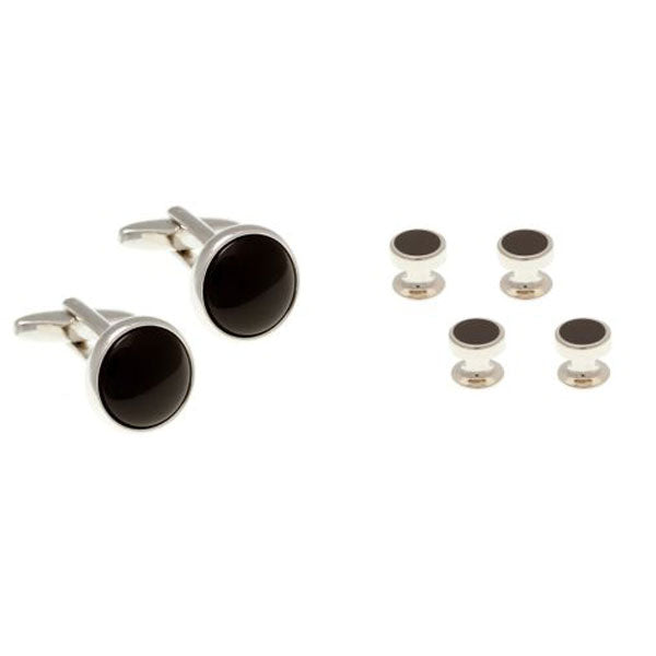 4 Round Black Onyx Dress Studs & Cufflinks Set by Elizabeth Parker