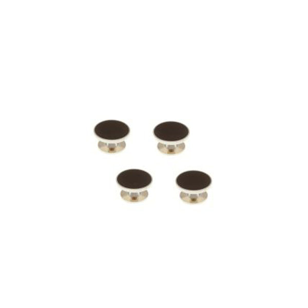 4 Black Enamel Dress Studs Set by Elizabeth Parker England