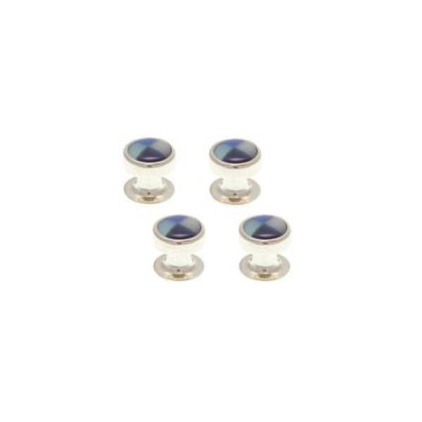 4 Round Blue Mix Dress Studs Set by Elizabeth Parker