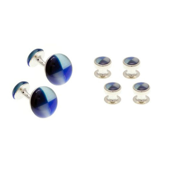 4 Round Blue Mix Dress Studs & Cufflinks Set by Elizabeth Parker