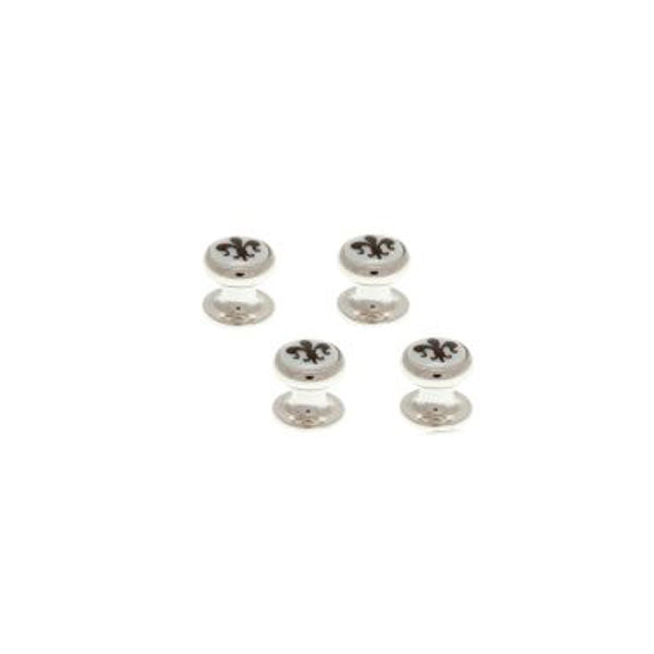 4 Round Mother Of Pearl Fleur de Lys Dress Studs Set by Elizabeth Parker