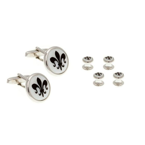 "4 Round Mother Of Pearl Fleur de Lys Dress Studs & Cufflinks Set - AEPDS012X4CL - ""exquisite accessories for the discerning gentleman"" - by Elizabeth Parker England"