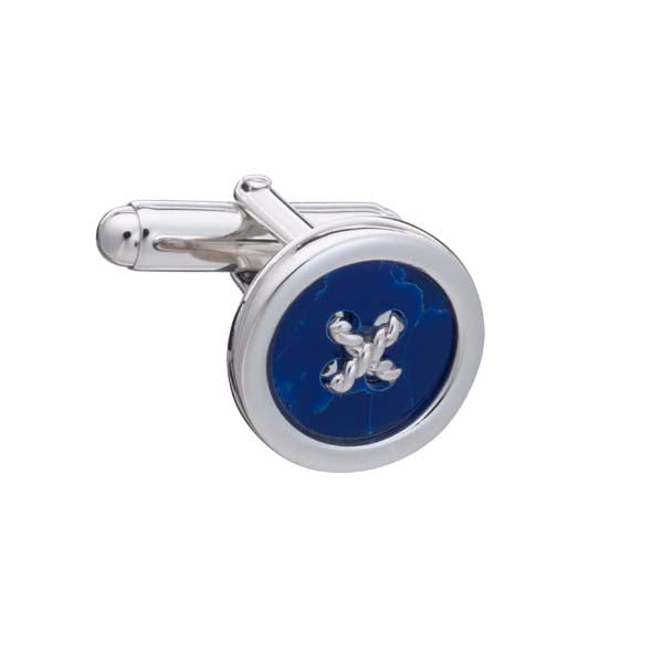 Limited Edition .925 Solid Silver and Sodalite Button Cufflinks with Cross Stitch