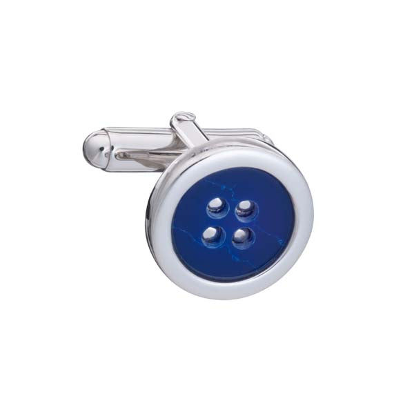 .925 Solid Silver and Blue Sodalite Button Cufflinks by Elizabeth Parker