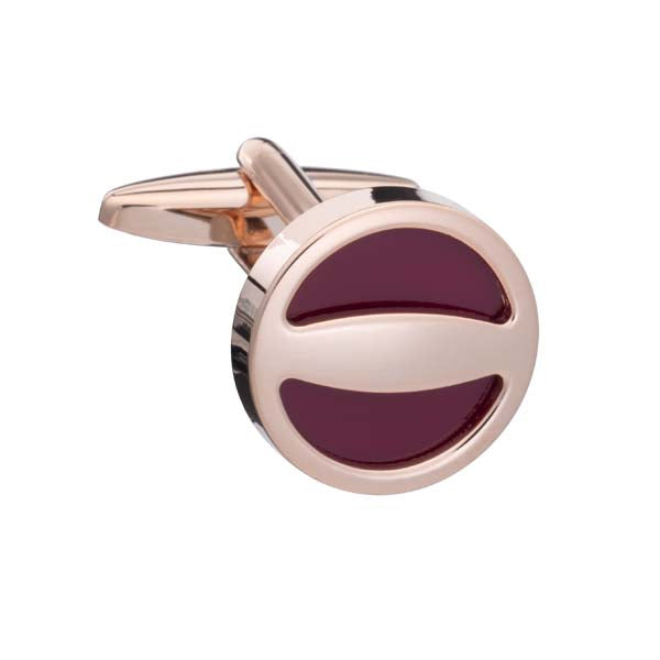 Burgundy and Rose Gold Label Cufflinks