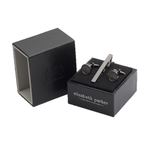 Round gun metal cufflinks with textured centre and matching tie clip gift set by Elizbabeth Parker