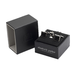 James Bond Style square black onyx cufflinks with martini glass lapel pin in a gift set by Elizabeth Parker