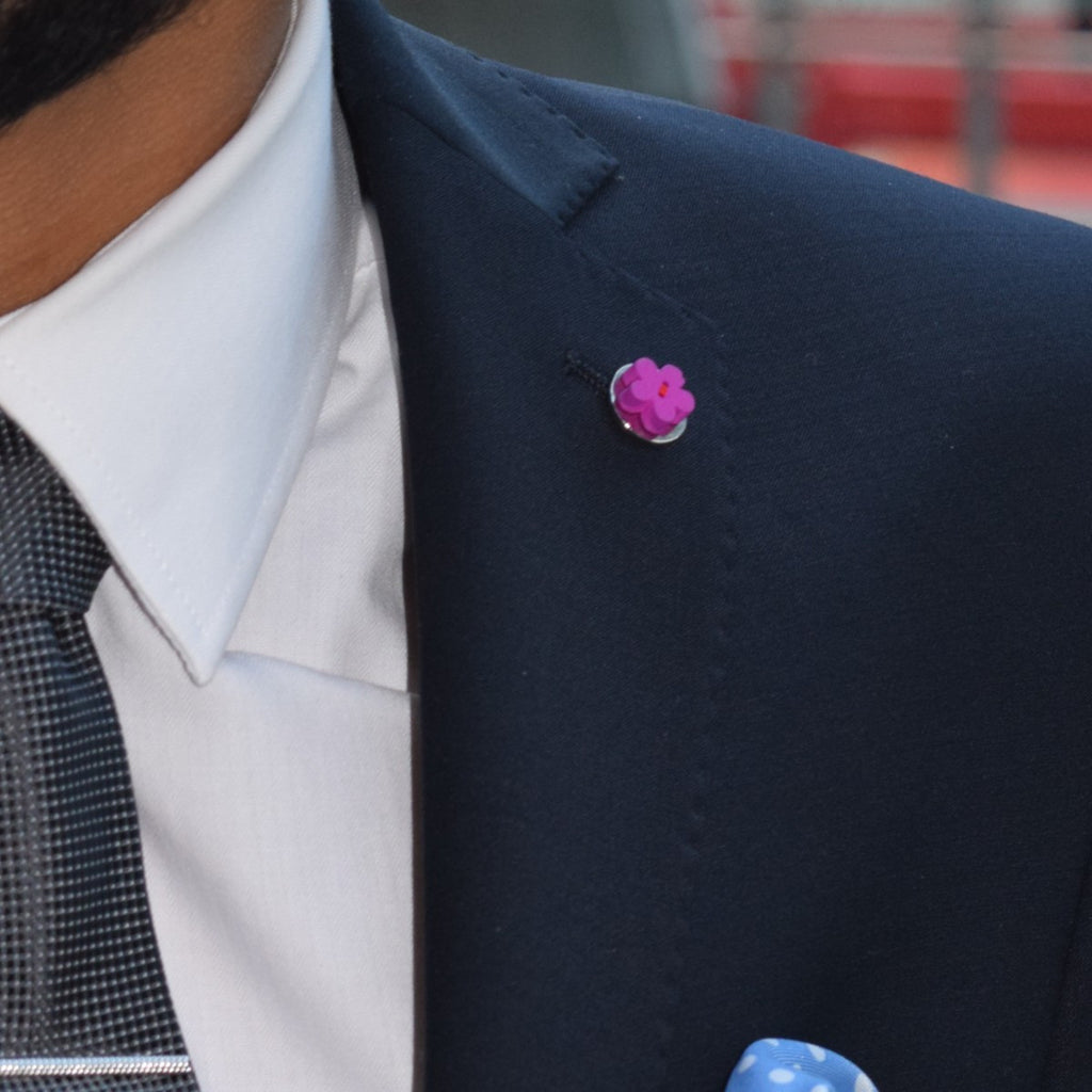 Blue Wooden Flower Lapel Pin