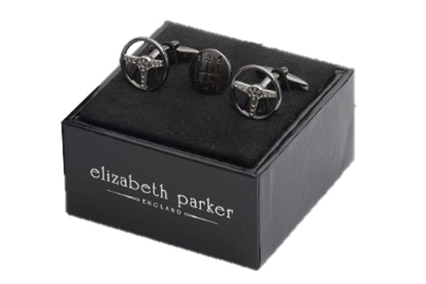 Motoring enthusiasts plain metal iconic steering wheel styled cufflinks with antique finish gear stick head lapel pin by Elizabeth Parker