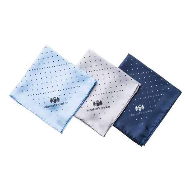 Multi Dotty Range of Silk Pocket Squares by Elizabeth Parker