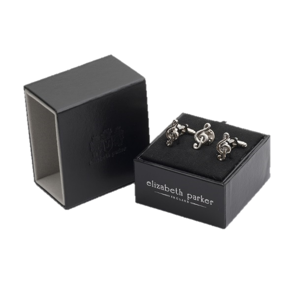 Treble clef cufflinks and matching lapel pin gift set by Elizabeth Parker