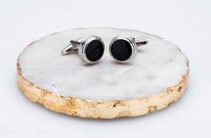 Barrelled Edge Onyx Cufflinks