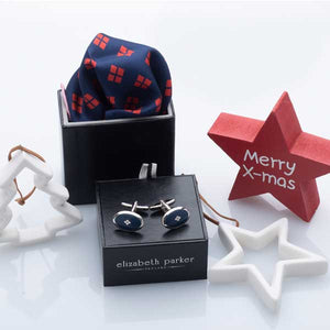 Diamonds For Ever Red and Navy Silk Pocket Square and cufflink Christmas Gift Set