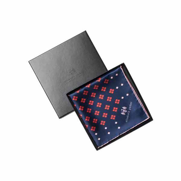 Elizabeth Parker Pink, Red and Navy Diamonds For Ever Silk Pocket Square in Gift Box