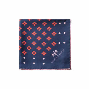 Elizabeth Parker Pink, Red and Navy Diamonds For Ever Silk Pocket Square