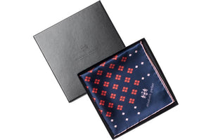 Diamonds For Ever Red and Navy Silk Pocket Square by Elizabeth Parker