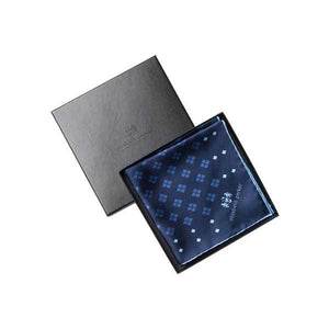 Elizabeth Parker Blue and Navy Diamonds For Ever Silk Pocket Square in Gift Box