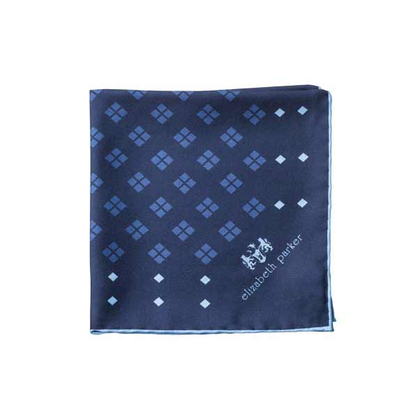 Elizabeth Parker Blue and Navy Diamonds For Ever Silk Pocket Square