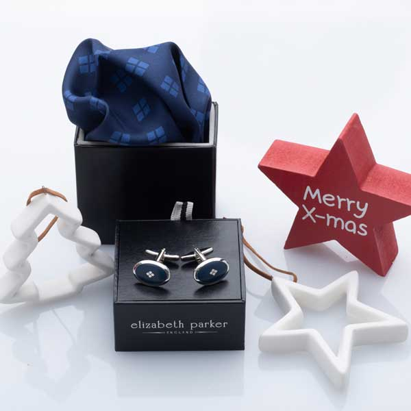 For Ever Navy and Light Blue Silk Pocket Square and Cufflink Set