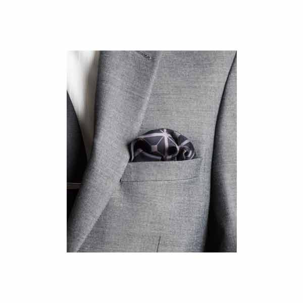 Diagonal Square Black and Grey Silk Pocket Square By Elizabeth Parker in jacket pocket