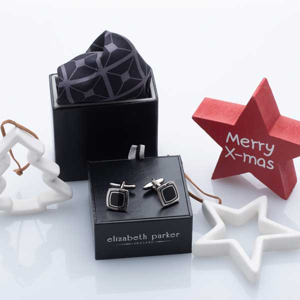 Diagonal Square Black and Grey Silk Pocket Square and Cufflink Christmas Gift Set